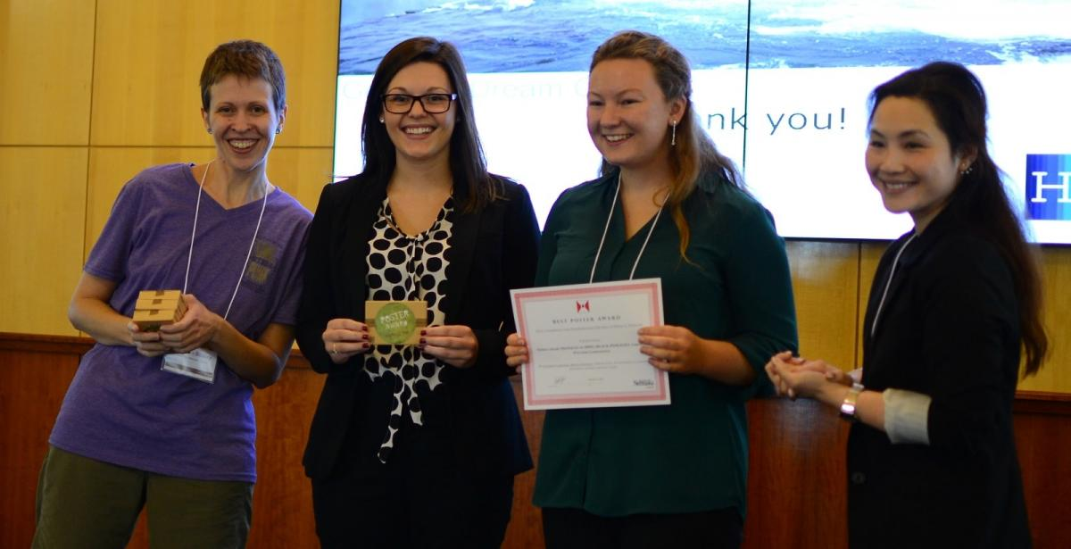 Jocelyn Bosley and Rebecca Lai with Elizabeth Laskowski and Brianna Shoulak, poster winners