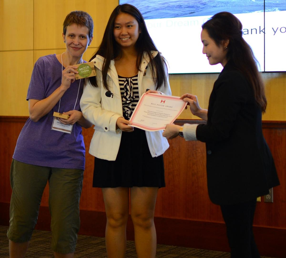 Jocelyn Bosley and Rebecca Lai with poster winner Jennifer Ngo
